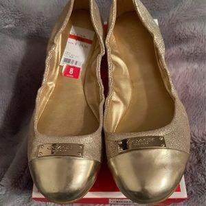 Coach Darsi Gold Ballet Flat Size 8
